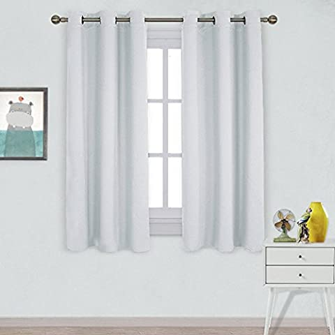 PONYDANCE Thermal Insulated Room Darkening Top Eyelet Solid Blackout Curtains