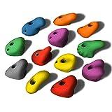 ALPIDEX 12 L Klettergriffe für Kinder im Set Henkelgriffe, ergonomische, kantenfrei, mitteltiefe Hinterscheidungen, können auch als Tritte verwendet Werden, Farbe:Mixed Colour