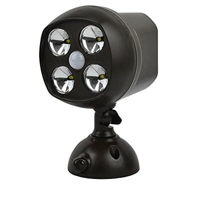 Super Bright 4 LEDs Motion Sensor Light Wireless Waterproof Spotlight Battery Powered Security Lights Powerful Indoor & Outdoor Wall Sconce Night Light for Driveways, Walkways, Porch, Garage(600 Lumens, 25ft Range, IP65 Waterproof Rating, 120 Degree) [Ene