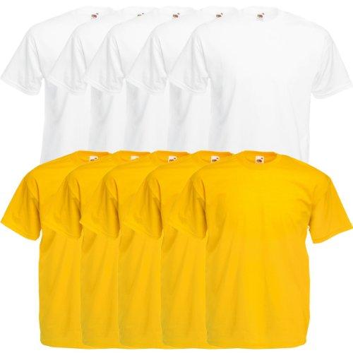 Fruit of the Loom Original Valueweight T Rundhals T-Shirt F140 5er 10er 15er 20er Pack 5x white 5x sunflower