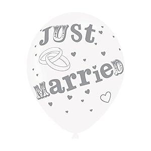 Amscan-Globos de látex (9900698Just Married de 11pulgadas