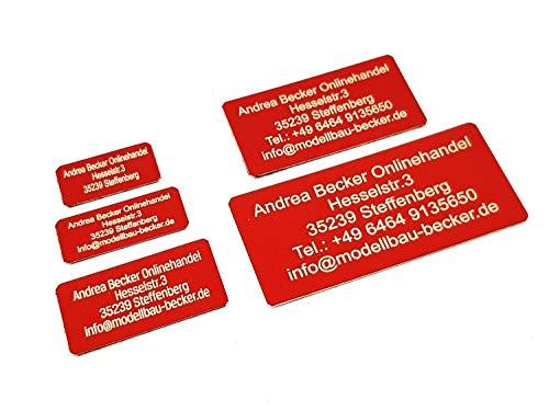 Andrea Becker Onlinehandel Adressschild / Drohnen Plakette / Drohnen Kennzeichen / Multicopter Kennzeichnung / Namensschild / Schilder mit hochwertiger Lasergravur (55x25mm, rot)