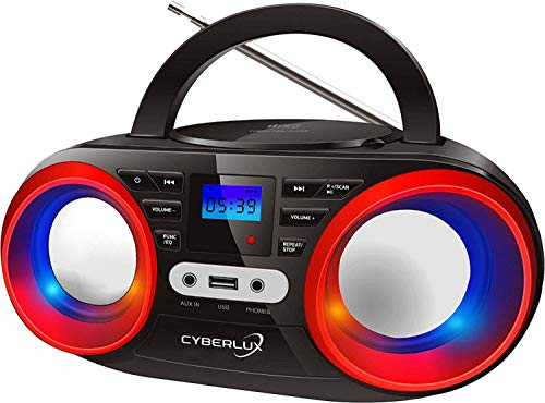 Tragbarer CD-Player | LED-Discolichter | Boombox | CD/CD-R USB Player | FM Radio | AUX-In | Kopfhöreranschluss | 20 Speicherplätze | Kinder Radio | CD-Radio | Kompaktanlage