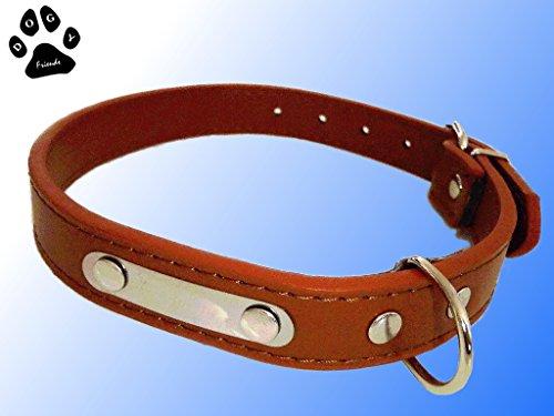 ID-Hundehalsband Halsband, Personalisieren Sie das Band mit dem Hundenamen, Telefonnummer und Adresse. Größen Verstellbar von 41-51cm Halsumfang. Braun