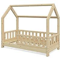 Preisvergleich für Vicco Kinderbett Hausbett Wiki 70x140cm Natur Kinder Bett Holz Haus Schlafen Hausbett Spielbett Inkl. Lattenrost und Zaun Fallschutzgitter (Natur)
