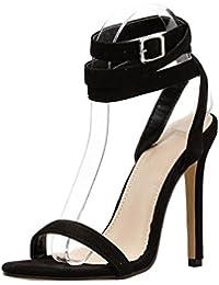 Longra Sexy Sandali con Tacco Alto con Fibbia per Cintura Scarpe col Tacco  Tacchi a Spillo Tacchi Alti Donna Neri… 6c23926f187