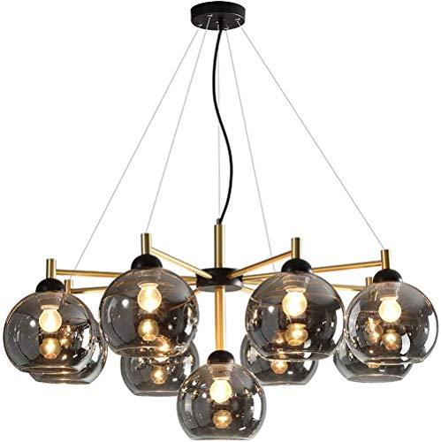 E27 Glas Ball Kronleuchter, Klar Glas Globen Hängelampe Schwarz Metall Pendellampe Branch Molecule Magic Bean Pendelleuchte für Wohnzimmer, Restaurant, Hängeleuchte 9-flammig Ø90cm,Grau