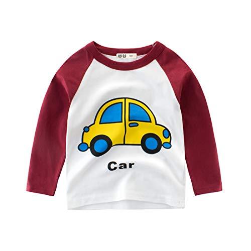 Kinder Baumwolle Sweatshirt Jungen Auto Aufdruck Langarmshirt Crewneck Mädchen Pulli Jumper Jungs Pullover Jersey Tops Shirt Unterwäsche Basic Hemd für 2-10 Jahre (92 / herstellergröße 90#, weinrot) -