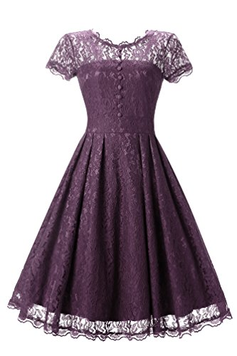 Adodress Elegantes Frauen Kleid Spitze Kleid CocktailKleid Knielanges Weinlese 50s Hochzeitsfest Ballkleid Rosa Und Lila