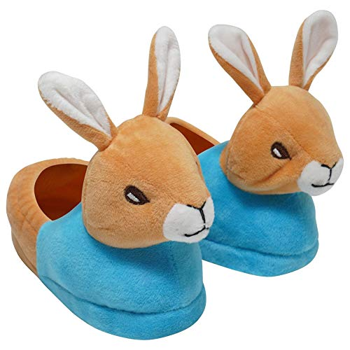 Boys/Girls Novelty 3D Rabbit Head Slippers - Blue Jacket/Pink Jacket - Kids Shoe Sizes 5-1