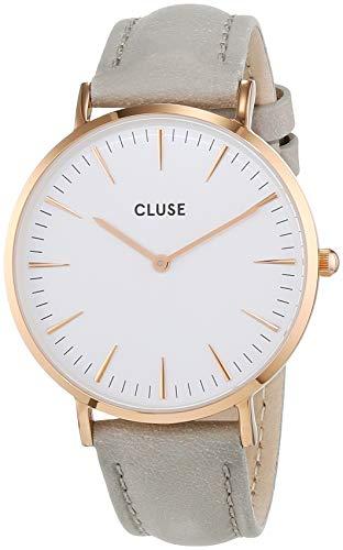 Cluse Damen-Armbanduhr Analog Quarz Leder Grau CL18015