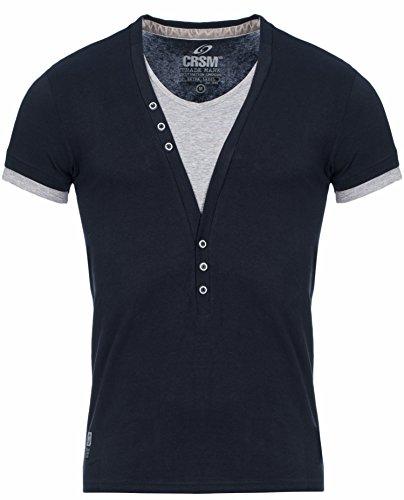 CRSM Carisma Herren T-Shirt T202 Designer 2in1 Look Shortsleeve Streetwear Schwarz
