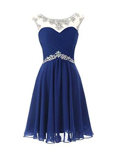 CoutureBridal? Kleid Kurzes Damen chiffon Kleid Brautjungfer Cocktailkleider Partykleider blau saphir