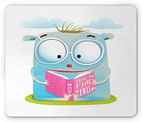 Preisvergleich Produktbild Kids Mouse Pad,  Little Creature Reading a Book Named How to Find a Friend on a Greenery Blue Clouds,  Standard Size Rectangle Non-Slip Rubber Mousepad,  Multicolor