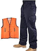 Mens Cargo Combat Work Trousers Workwear Multi Pocket Pants Black Navy Blue + Hi Vis Mesh Vest