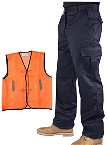 Mens Cargo Combat Work Trousers Navy Blue 34W Regular leg 31
