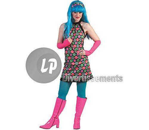 70er Jahre Retro Kostüm für Damen - Kleid und Stirnband - Gr. 44 46