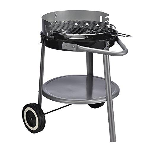 Standgrill Rundgrill BBQ Grill auf Rollen schwarz/silber