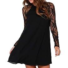 Overdose SeñOras De Las Mujeres De Moda De Encaje Negro Vestido De Gasa Sobre La Rodilla