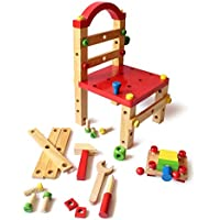 Shumee Wooden 40+ Pieces DIY Build A Chair Tools Set (3 Years+) - Building & Constructive Play STEM Learning Toy