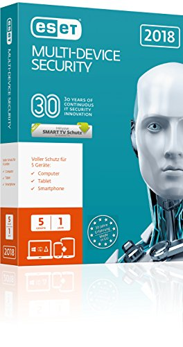 Eset Multi-Device Security 2018 | 5 User | 1 Jahr Virenschutz | Windows (10, 8, 7 und Vista), macOS, Linux und Android | Download