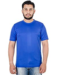 Spruce Up Round Neck Blue Color Half Sleeve Polyester T Shirt