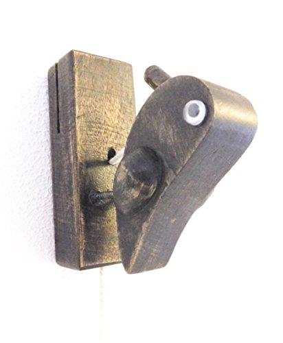 Türklopfer Specht aus Holz (9,5x10x4 cm - mit Schnur 37 cm)- Fairtrade und Unterstützung eines Hilfsprojektes in Thailand (antik braun)