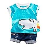 JUTOO 2 Stücke Set Kleinkind Kinder Baby Jungen Cartoon Print T-Shirt Tops + Jeans Kurze Outfits Sets (Blau,90)