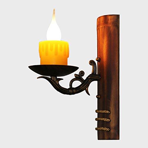 Wandleuchte Wachs Kerze (HLJ Bar Stairs Kerzen Wandleuchte Creative Aisle Cafe Wohnzimmer Schmiedeeisen Retro-Lampen)