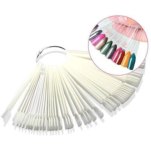 Bigboba - trasparente schede per unghie espositore a ventaglio per smalto per nail art tips e falso nail art pratica + 50*trasparente schede di colori per unghie