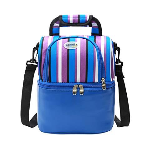 KonJin Lunch Tasche, Kühltasche - Lunch Bag Thermotasche Eistasche Picknicktasche Mittagessen Tasche mit 2 geräumigen Fächern Tragetasche Wasserdicht für Arbeit, Schule, Ausflug 9L