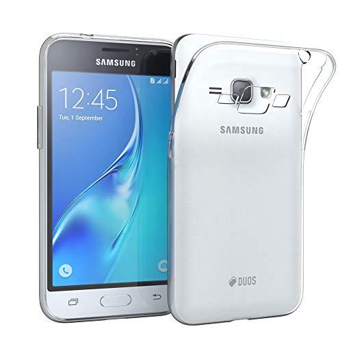 EAZY CASE Hülle für Samsung Galaxy J1 (2016) Schutzhülle Silikon, Ultra dünn, Slimcover, Handyhülle, Silikonhülle, Backcover, Durchsichtig, Klar Transparent