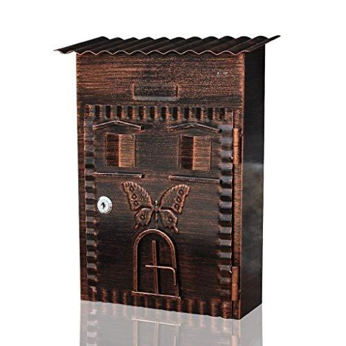 Jstyal968 Yalztc-zyq16 Briefkasten Galvanisiertes Blatt Europäischer Retro- Landhaus-Briefkasten Kleiner Garten-Dekorations-Briefkasten im Freien mit Verschluss-Wand-wasserdichtem Briefkasten -