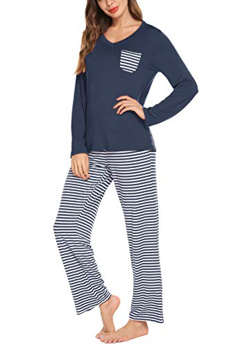 hellow friends Damen 2 Stück Pyjamas Sets mit V-Ausschnitt Tops und gestreifter Hose Baumwolle Nighty Lounge Pj Sets Large Marine Blau 1 -
