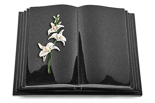 Grabbuch, Grabplatte, Grabstein, Grabkissen, Urnengrabstein, Liegegrabstein Modell Livre Pagina 40 x 30 x 8-9 cm Indisch-Black-Granit, poliert inkl. Gravur (Bronze-Color-Ornament Orchidee) (Indische Orchidee)