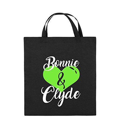 Jutebeutel HERZ Schwarz 38x42cm kurze Weiss Henkel Bags Bonnie Schwarz Weiss Clyde MOTIV Neongrün Comedy Neongrün Farbe Bq4aX