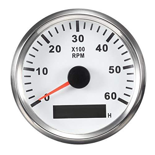 ELING Tachymètre Étanche Tachymètre Compteur RPM Avec Compteur D'heures 0-6000RPM 85mm 9-32V Avec Rétro-Éclairage