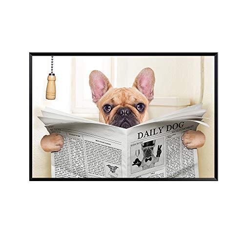 yhyxll Lustige Mops Hund Minions Wc Lesen Zeitung Badezimmer Dekoration Anime Poster Nordic Leinwand Malerei Wandkunst Drucken Bilder A 60x90cm
