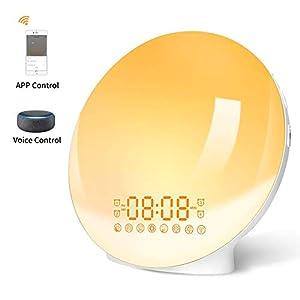 Smart Lichtwecker Wake Up Licht WIFI Sunrise & Sunset Tageslichtwecker mit 4 Weckern/Snooze Funktion/FM Radio/7 Klänge/20 Helligkeitsstufe Intelligentes Wecker kompatibel mit Alexa & Google Home