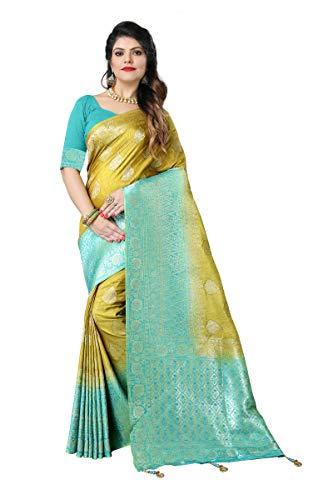 Silky Sarees Women's Banarasi Silk Saree wit...