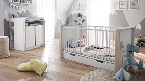 Babyzimmer Kinderzimmer Komplett Set Nandini Set 2 in Weiß matt mit Blenden in Sandgrau Hochglanz