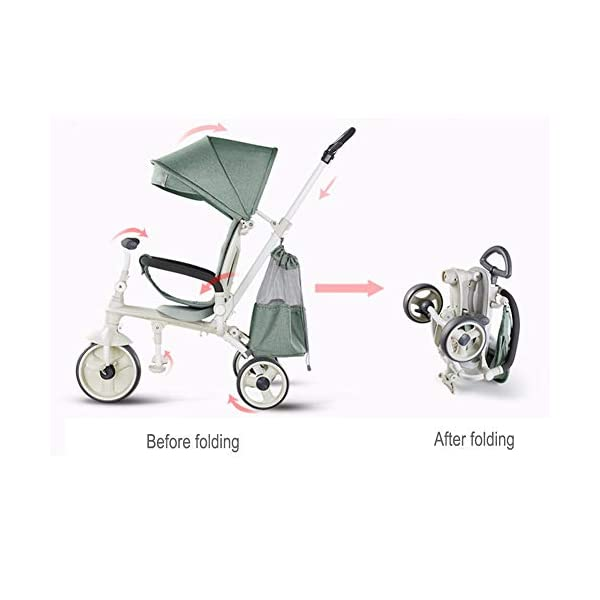 GSDZSY - Lightweight Foldable Children Tricycle, Comfortable Adjustable Seat, Removable Push Handle Bar,With Safety Fence,1-6 Years Old GSDZSY Material: High carbon steel + ABS + rubber wheel, suitable for children from 6 months to 6 years old, maximum load 30 kg Features: Adjustable height and control direction, adjustable umbrellas, suitable for different weather conditions Performance: high carbon steel frame, strong and strong bearing capacity; non-inflatable rubber wheel, suitable for all kinds of road conditions, good shock absorption, seat with breathable fabric, baby ride more comfortable 4