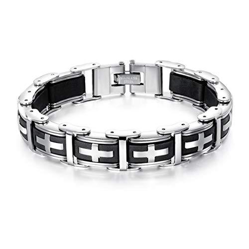 Pulsera para hombre de acero inoxidable con eslabones en forma de cruz, cadena para moto, color negro y plateado