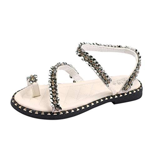 BaZhaHei Sommer Elegante Boho Vintage Damen Frauen Mode Perlen Sandalen Sommer Schuhe Party Sexy Perle Flache Unterseite Clip Toe Flip Flop Zehentrenner Schuhe Übergröße Sommerschuhe -