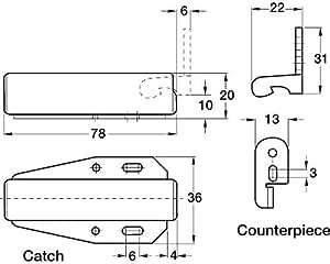 LOFT DOOR TOUCH CATCH Hatch Push - Attic/Cupboard Latch c/w fitting instructions