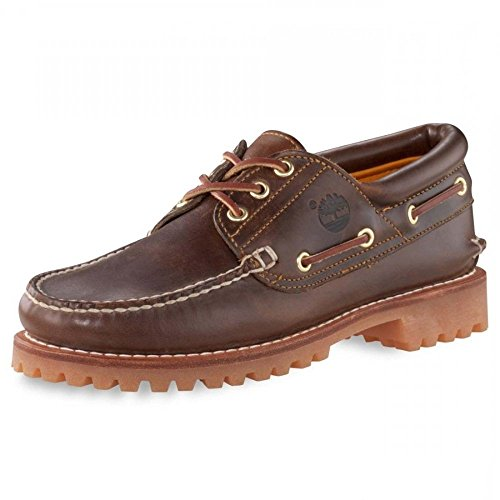 Timberland Men's Authentics 3-Eye Classic Lug Casual Shoes,Brown Pull Up Leather,8 UK