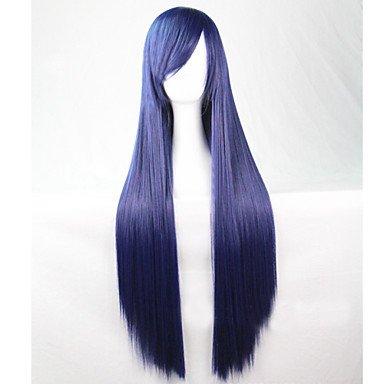 HJL-mode cosplay must-have fille brune qualit¨¦ bleu cheveux longue ligne droite de 80 cm perruque , blue