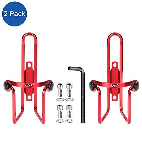 J&D Leichtgewichtige haltbare Flaschenhalterung aus Aluminium fürs Fahrrad, Fahrradhalterung für Wasserflaschen - 2er Pack (Rot) -