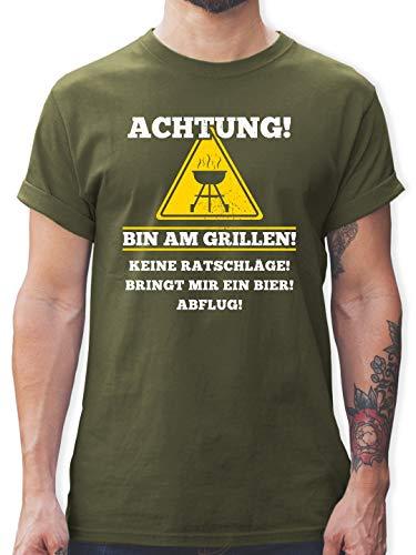 Grill - Bin am Grillen - XL - Army Grün - L190 - Herren T-Shirt und Männer Tshirt -