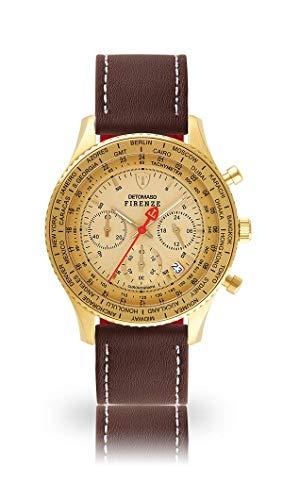 DETOMASO Firenze SL1624C-GG-943 Montre chronographe analogique à Quartz Bracelet en Cuir Marron Cadran doré